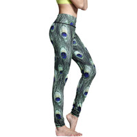 New Sexy Hips Push Up Peacock Feather Yoga Pants Women Tights Sport Fitness Running Workout Leggings Quick Dry Elastic Trousers