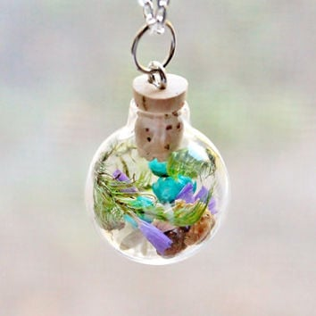 Glass Globe Terrarium Necklace Forget Me Not Flowers, Unique Nature Jewelry,Woodland Pendant, Turquoise Flowers, Silver Plated Chain