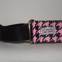 "Martingale Dog Collar  * Pink & Black Houndstooth * Well behaved Women rarely make history *  1 1/2 "" adjustable Martingale *Greyhound"