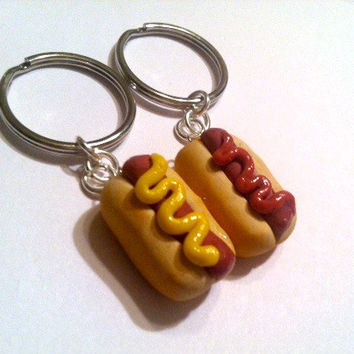 Hot Dog Key Chains, Polymer Clay Food, Best Friends Gifts