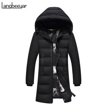 New Fashion Brand Clothing Men Down Jackets Hooded Winter Jacket Men Parka Long Keep Warm Mens Winter Jackets And Coats M-4XL