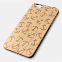 Anchor Natural wood handmade precise laser engraved iPhone 6 6S 6 Plus 6S Plus case WA001