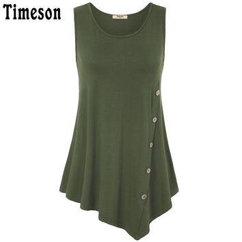 Timeson Women Summer Sexy Sleeveless A Line Asymmetrical Hem Button Embellished Flowy Tunic Tops Ladies Casual Loose Tank Top