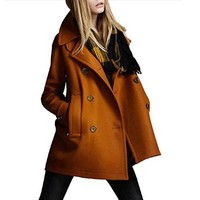 Woman's Winter Fold Down Slim Topcoat Lapel Double Breasted Woolen Trench Coat