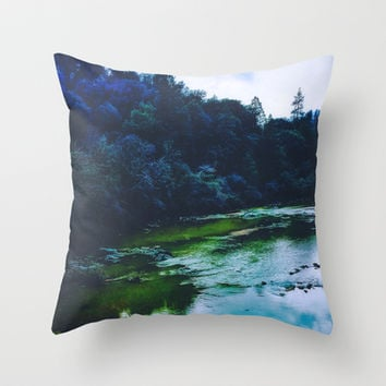 Blue Trees Throw Pillow by DuckyB (Brandi)