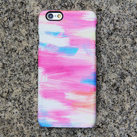 Pink and Blue Panting Phone 6 iPhone 6 plus Case Watercolor iPhone 5S 5iPhone 5CiPhone 4S/4 Case Samsung Galaxy S6 edge S6 S5 S4 Case 055