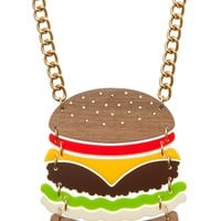 Super Cute Burger Necklace