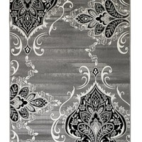 4625 Gray Damask Oriental Area Rugs