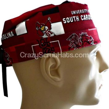 Men's Fold-Up Cuffed or Un-Cuffed Surgical Scrub Hat Cap in South Carolina Gamecocks New Block