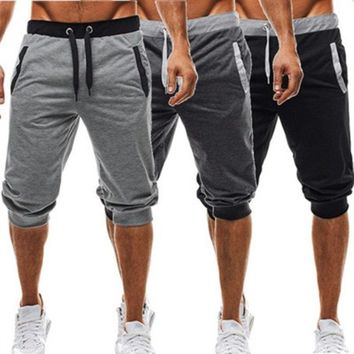 Summer 2018  Shorts Men Baggy Jogger Beach Shorts Soft Cotton Outdoor Sports Running Bicycle Riding Shorts