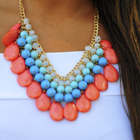 Mini Teardrop Necklace: Coral | Hope's