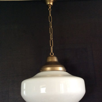 Antique Hanging Church Industrial or School House Pendant Light Fixture 1920 - 1930s Milk Glass