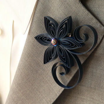 Peacock Blue Boutonniere, Peacock Buttonhole, Peacock Wedding, Midnight Blue, Boutonniere for Wedding