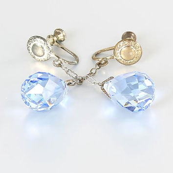 Art Deco Blue crystal Briolette Earrings, screw back antique earrings jewelry