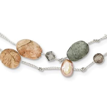 SS Labradorite/Red Moonstone/Freshwater Cultured Pearl/Crystal Necklace