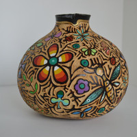 Hand carved, hand painted garden scene gourd