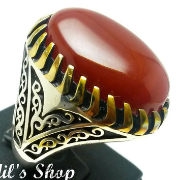 Men's Ring, Turkish Ottoman Style Jewelry, 925 Sterling Silver, Authentic Gift, Traditional, Handmade, With Red Agate Stone, US Size 12, New