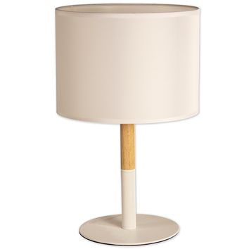 OSLO Table Lamp Natural Wood and Metal Table Lamp (White)
