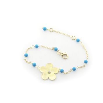 """Hammered Gold Plated Sterling Silver Flower of Life & Turquoise Beads Chain Bracelet for Girls, 6"""""""
