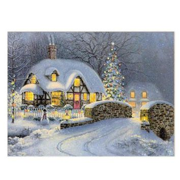 Hot 5D Diamond Snow House Painting Cross Stitch Kit Embroidery Craft Home DIY Decor