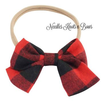 Girls Buffalo Plaid Bow Nylon Headband, Baby Girls, Toddlers Headband, Hair Accessories