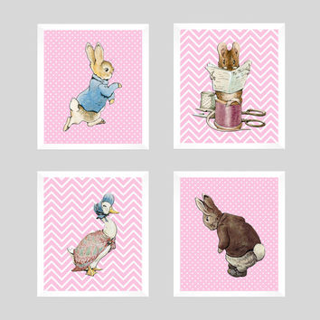 Set of 4 Peter Rabbit on Pink Background Prints CUSTOM COLORS Modern Art Prints for Nursery Wall Decor Custom Colors Modern prints  8x10
