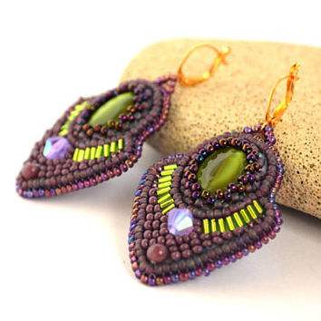 Purple Green Bead Embroidery Earrings Bead Embroidered Earrings Beadwork Statement Earrings Bead Embroidered jewelry Gift Seed Bead Earrings