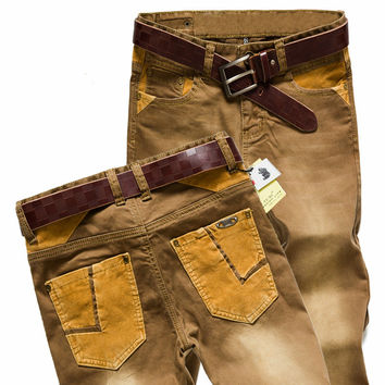 New Male Elastic Slim The Trend of Desert Trousers Promotion Real Cotton Casual Denim Jeans For Men Mid Waist Straight pants