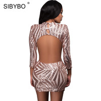SIBYBO Sexy Backless Silver Gold Sequins Bodycon Dress Autumn Winter Women Vintage Long Sleeve Party Club Short Dresses Vestidos