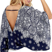 Butterfly Transformation Navy Blue Print Crop Top