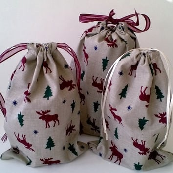 3 Christmas Drawstring Fabric Gift Bags Upcycled, Reusable, Moose and Evergreens