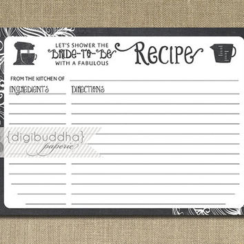 Recipe Card INSTANT DOWNLOAD Chalkboard Black White Bridal Shower 4x6 DIY Swirl Rustic Printable or Printed Fill-In Recipe Retro - Kim Style
