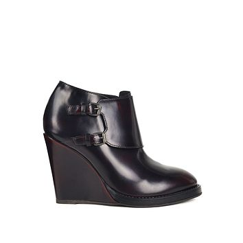 Brunello Cucineli Womens Red Monk Strap Wedge Ankle Boots