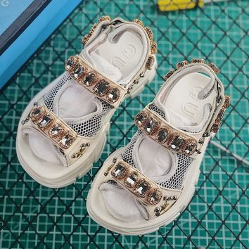 Gucci White Leather And Mesh Sandal With Crystals - Best Online Sale