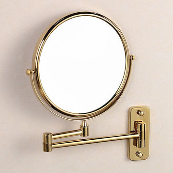 "Free Shipping Antique 8"" Double Side Folding Brass Shave Makeup Mirror Wall Mounted Extend with Arm Round 1x3x Magnifying BM004"