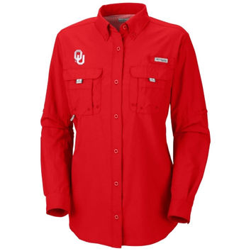 Oklahoma Sooners Columbia Women's Bahama Long Sleeve Button Down Shirt - Crimson