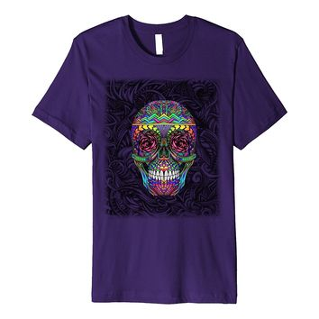 Rainbow Candy Skull Abstract Fine Art Hand Drawn Bold Shirt