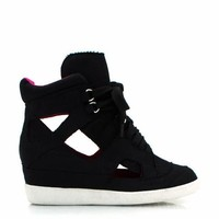 canvas-cut-out-wedge-sneakers BLACK - GoJane.com