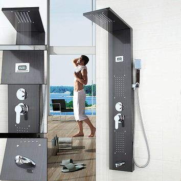 Bathroom Contemporary Fashion Luxury Shower Column Shower Panel Hand Shower Massage Jets Brushed Nickle Plate Shower Faucet