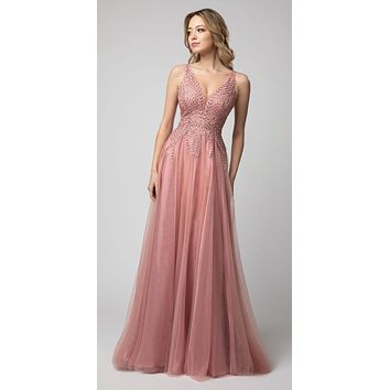 Embroidered Long Prom Dress V-Neck and Back Dusty Rose