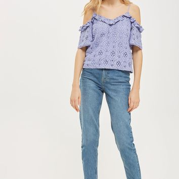 Lace Frill Cold Shoulder Top | Topshop