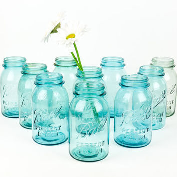 Antique Mason Blue Ball Canning Jar Collection / Set of Ten with Lids