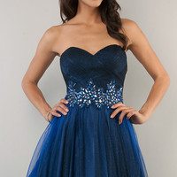 Blue Short Strapless Prom Dress by B Darlin