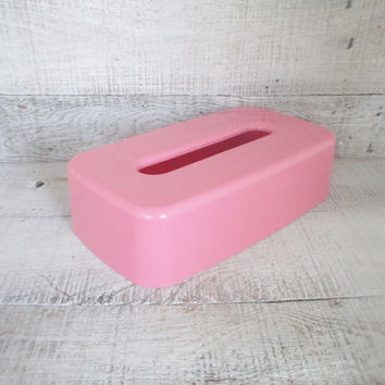 Tissue Box Cover Vintage Tissue Box Holder Mid Century Tissue Box Cover Pink Plastic Tissue Box Holder Vintage Pink Bathroom Decor