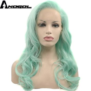 Anogol Glueless High Temperature Heat Resistant Fiber Hair Long Body Wave Mint Green Synthetic Lace Front Wig for Drag Queen