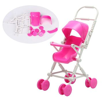 Assembly Doll Baby Stroller Trolley Nursery Furniture Toys Pink