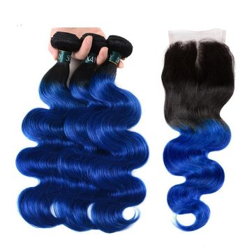 Blue Pre-colored Ombre Brazilian Body Wave Human Hair Weft With Closure