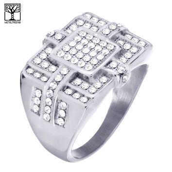 Jewelry Kay style Men's Hip Hop Lab Diamond Stainless Steel Silver Plated Band Pinky Ring SSR 304S