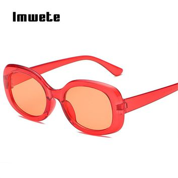 Imwete Vintage Sunglasses Women Brand Designer Oval Oversized Sun Glasses Retro Mirror Sunglasses UV400 Red Shades Eyeglasses