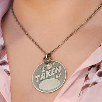 Taken By Necklace, Couples Necklace, Anniversary Necklace, Personalized Necklace, Engravable Necklace, Ring Necklace, Love Necklace N1247
